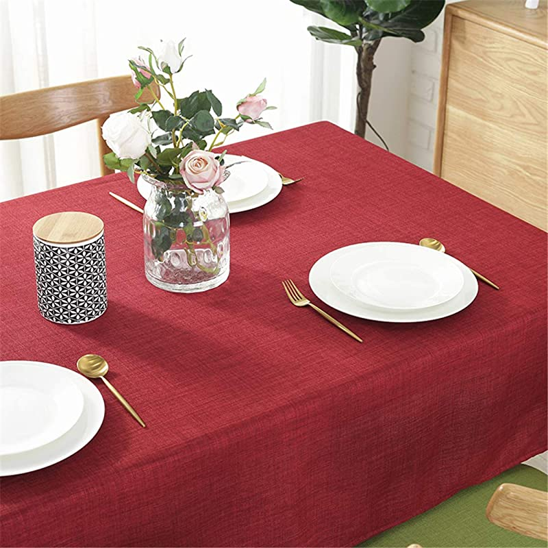 Omelas Wine Red Tablecloths For Rectangle Tables 55 X70 Solid Color Cotton Linen Fabric Waterproof Dust Proof Table Cover For Kitchen Dining Party Tabletop Decoration Red Oblong 55x70in