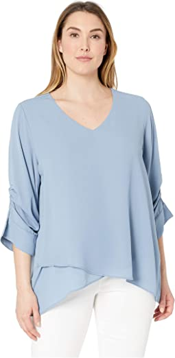 Plus Size Shirred Sleeve Top