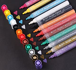 Acrylic Paint Pen - Medium Point Acrylic Marker Pens for Rock Painting, Glass, Porcelain, Mug, Wood, Fabric, Canvas, Craft Projects, Set of 12 Colors