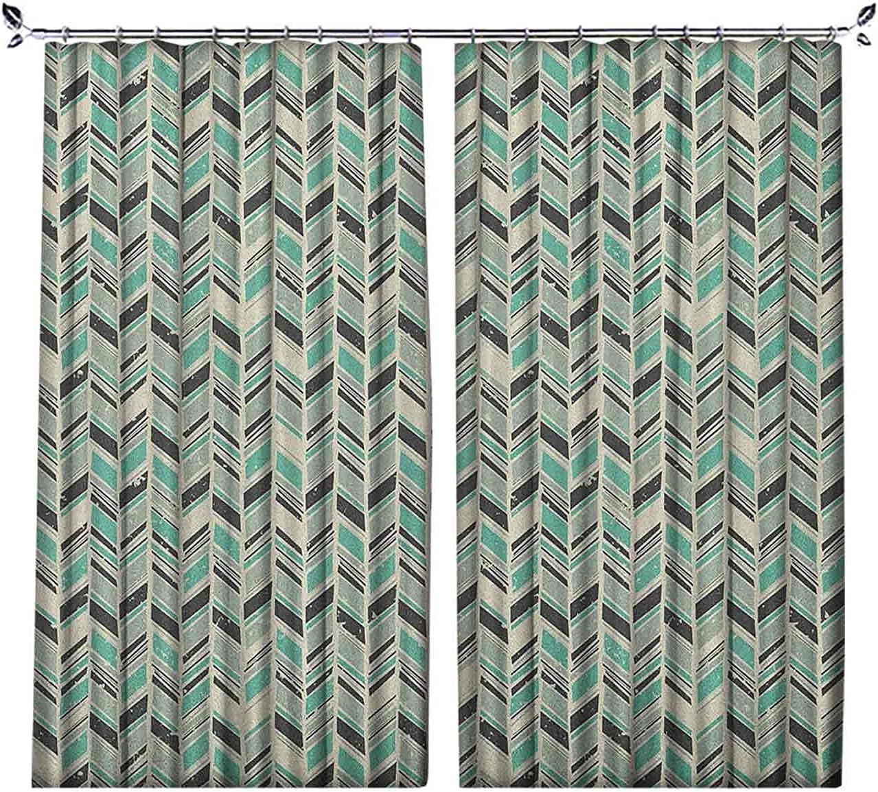 Room Darkening Chevron Curtain Zigzag sale Low price Herringbone Patter Grunge