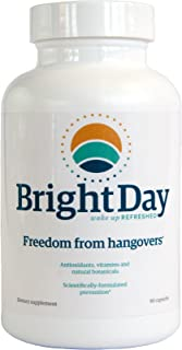 BrightDay Hangover Prevention Recovery Relief Pills (90 Capsules) - Alcohol Metabolism - Better Morning After- Liver Support - FDA Compliant and Made in the USA - Hangover are a Thing of the Past