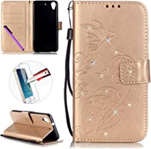 HTC Desire 626/626S Case, ISADENSER Butterfly Embossed PU Leather Case Bling Glitter Magnet Flip Wallet Stand Case with Card Slots for HTC Desire 626 + 1pcs Screen Protector Diamonds Gold