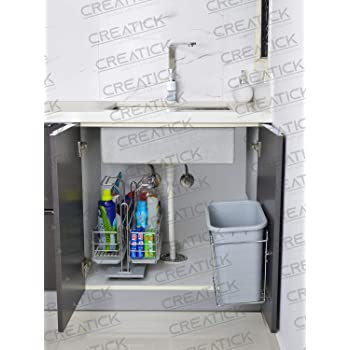 Creatick - Dustbin with Bin Holder (Bucket) 12 Liters - Stainless Steel Door Mounted - Silver Chrome.