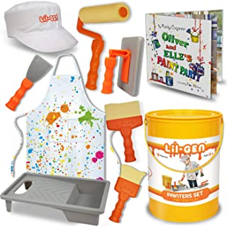 Li`l-Gen Painter`s Tool Set Plus Book - Pretend Play Toddler Toys for Kids Age 2-4, Includes Cap, Apron, 7 Painter Tools and Storage Paint Bucket