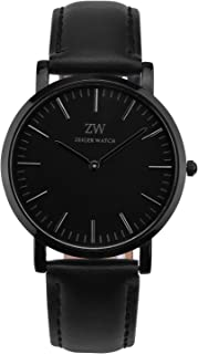 Zeiger Mens Women Watches Black Dial Analog Quartz White Dial Watch with Leather Band Black Fashion Casual Business Watch