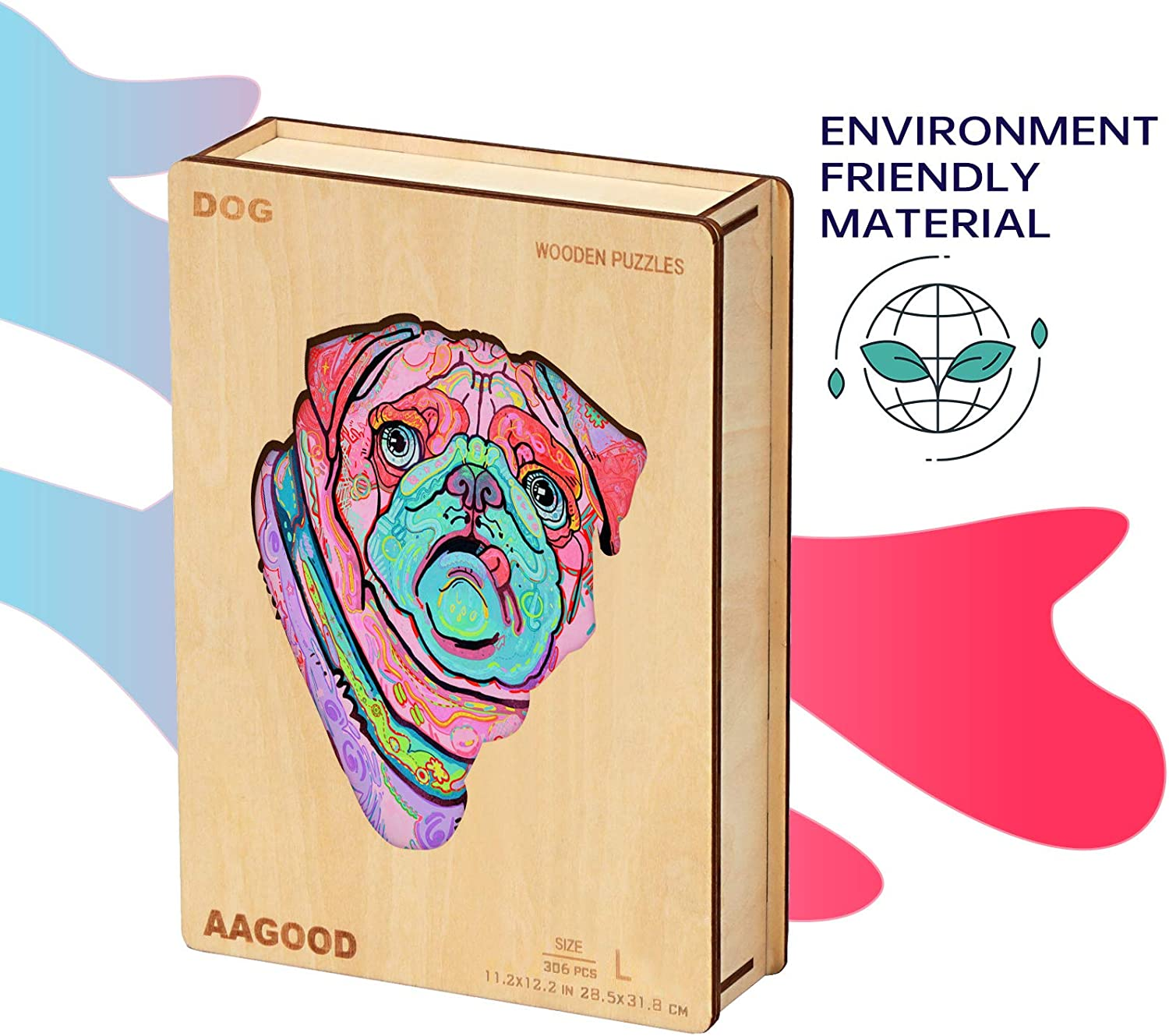 5.5/×6.3 inches AAGOOD Wooden Jigsaw Puzzle for Adults 106 Pieces pro Small Best Gift for Adults and Kids Unique Shape Jigsaw Pieces Dog