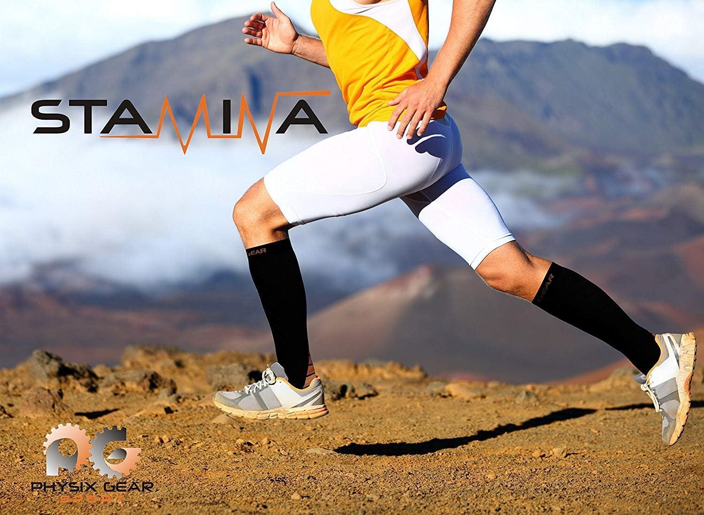 Medias de compresi/ón Hombre y Mujer Transpirables y Resistentes los Mejores Calcetines compresi/ón Mujer y Hombre para aliviar el Dolor de pies y Gemelos Physix Gear Sport Calcetines de compresi/ón