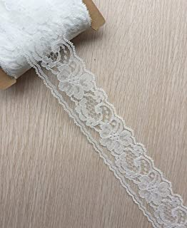 LACE REALM 2 inches Wide x 30 Yards White Floral Pattern Trim Lace Ribbon for Decorating, Floral Designing and Crafts