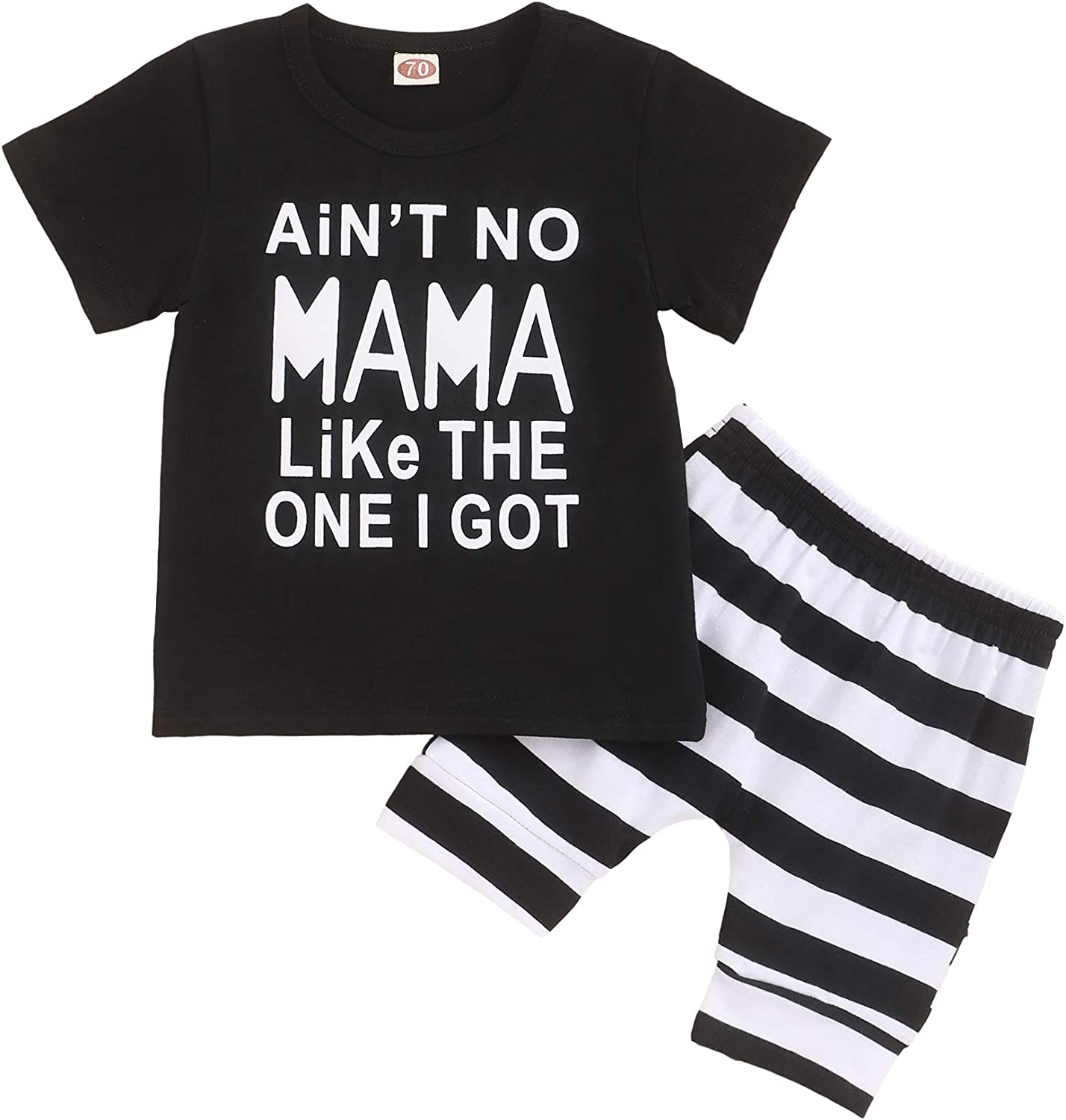 Toddler Infant Boy Clothes Mama'S BOY Letter Printed Shorts Sleeve Top + Stripe Shorts Summer Outfit