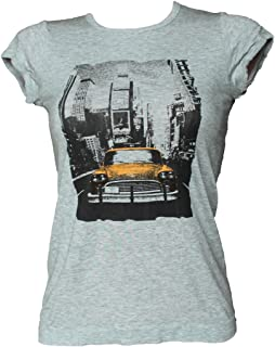 SENSI' T-Shirt Donna Manica Corta Stampa Taxi Morbido Micromodal Traspirante Senza Cuciture Seamless Made in Italy
