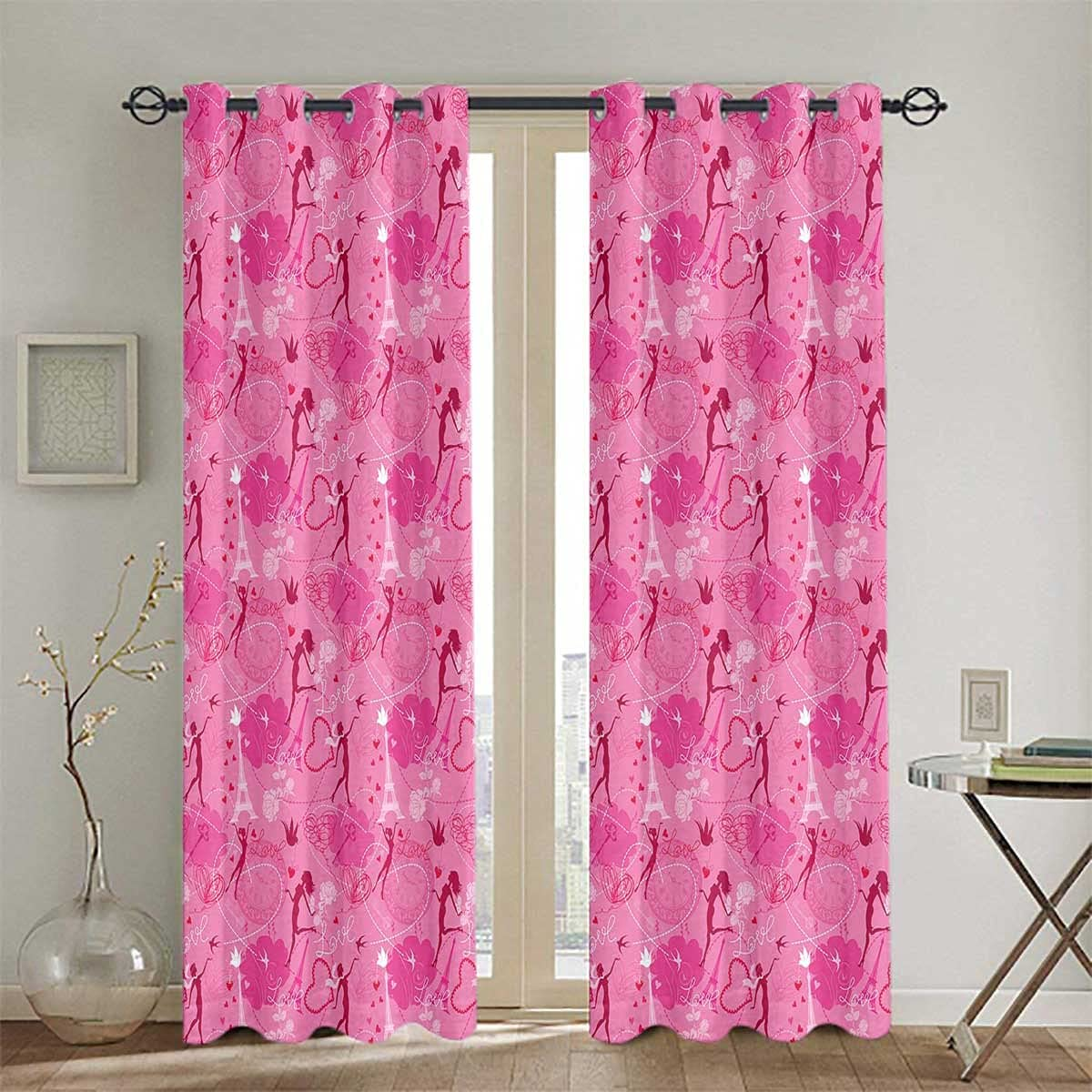 Grommet Super Special SALE held Blackout Curtains for Bedroom Fairy Online limited product Hearts Gr Women Pink