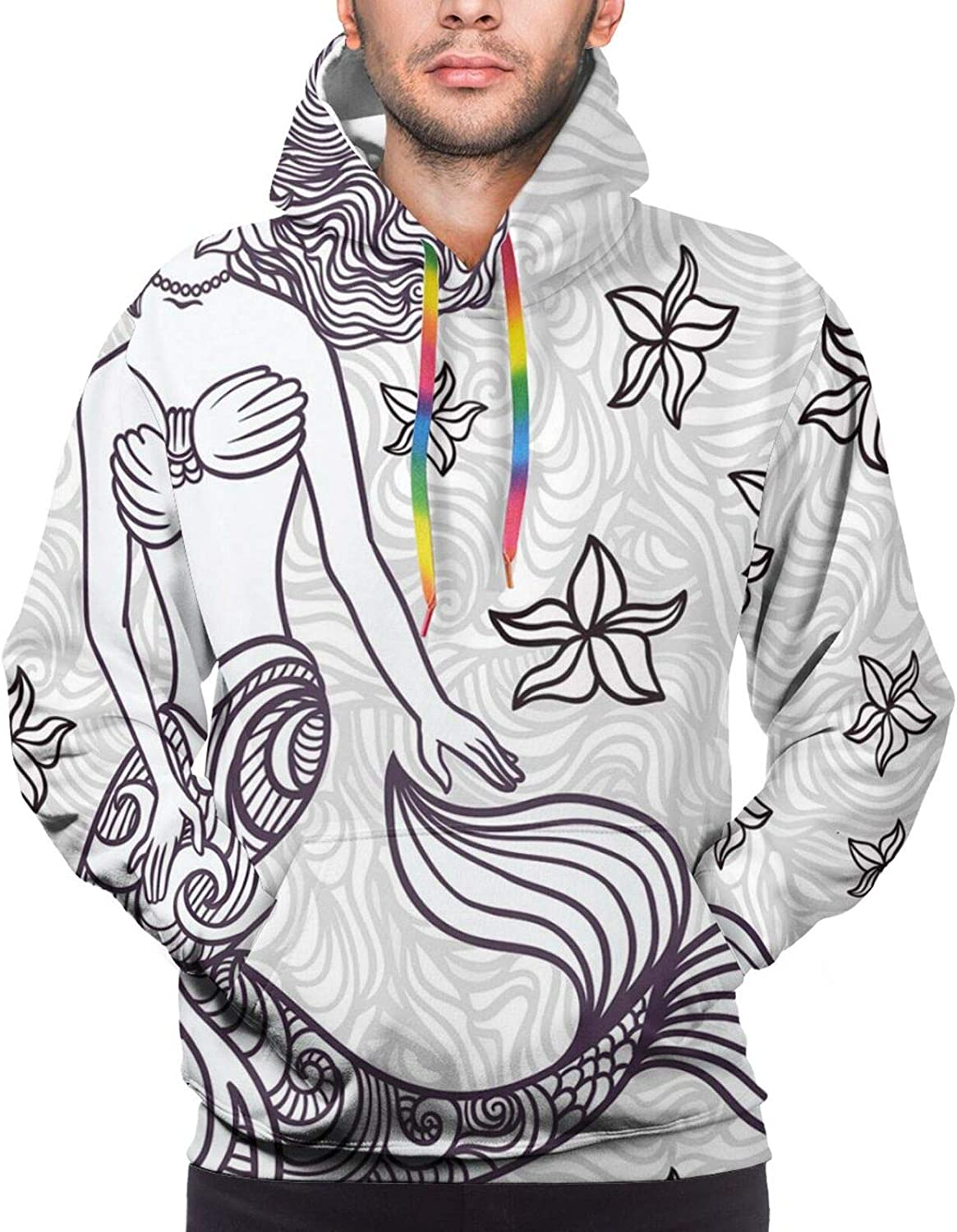 Men's Hoodies Sweatshirts,Ancient Magical Mermaid Woman in Waves with Shell Flower Nymph Mythological Art Print