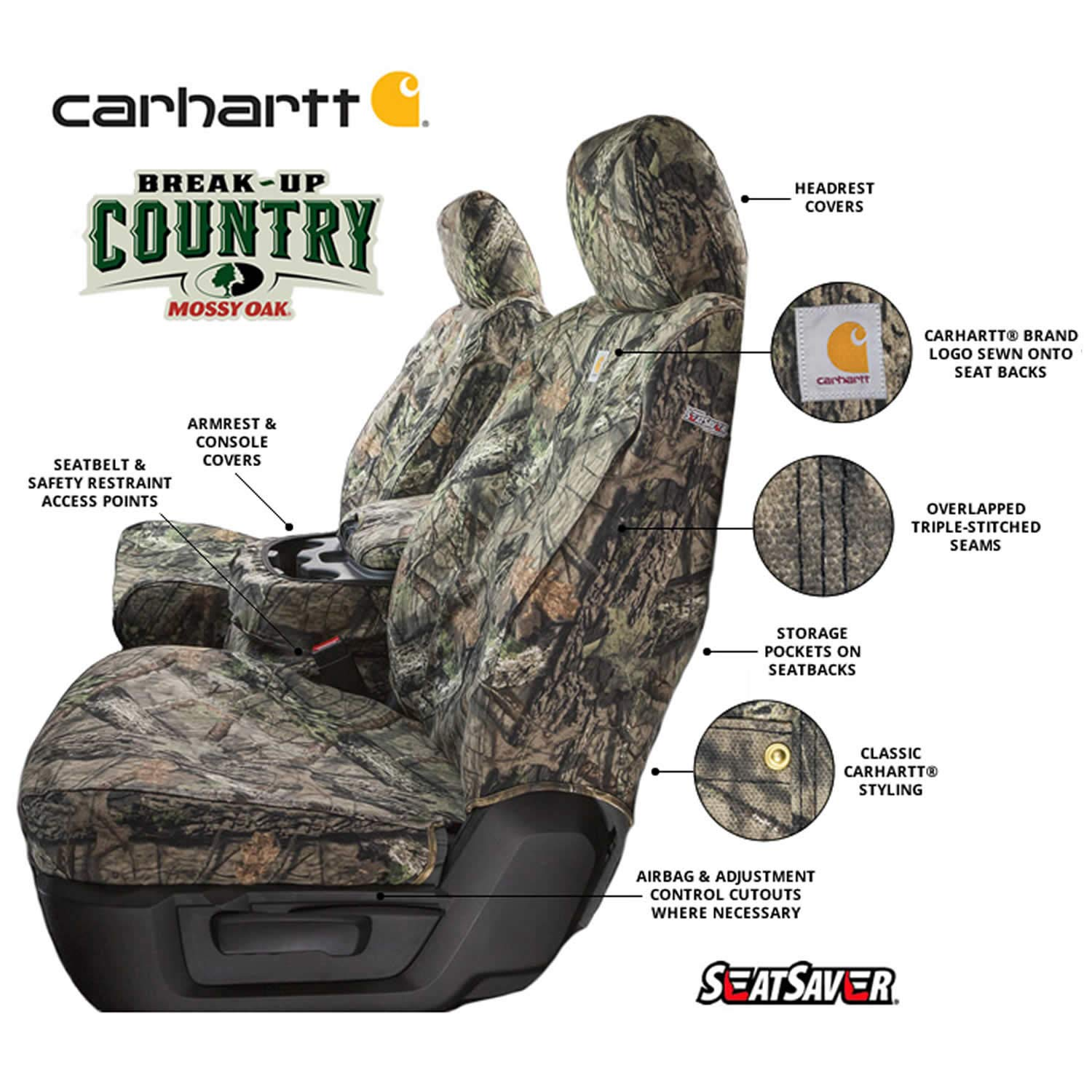 SSC2403CAMB Covercraft Carhartt Mossy Oak Camo SeatSaver Front Row Custom Fit Seat Cover for Select Toyota Tacoma Models Duck Weave Break-Up Country