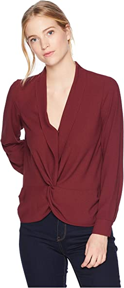 Long Sleeve Twist Front Blouse