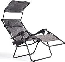 Goplus Folding Zero Gravity Lounge Chair Wide Recliner for Outdoor Beach Patio Pool w/Shade Canopy (Grey Zero Gravity Chair)