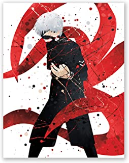 PGbureau Tokyo Ghoul Poster - Anime Inspired Watercolor Print - Ken Kaneki – Manga Wall Decor – Kids Room Bedroom (8x10)