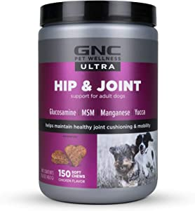GNC Ultra Hip & Joint Chicken Flavor Soft Chews for Dogs, Count of 150, 150 CT