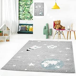 Color Gris y Blanco 120 x 120 cm Redonda dise/ño de Unicornio Ayyildiz Teppich Alfombra Infantil para habitaci/ón Infantil