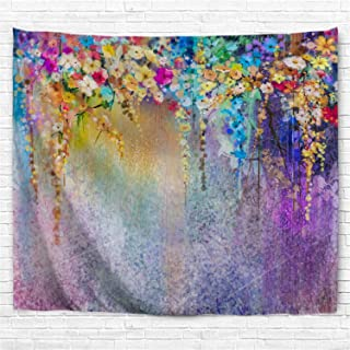 BROSHAN Watercolor Flower Tapestry Small,Purple Abstract Floral Tapestries Art Painting Wall Hanging Fabric Psychedelic for Home Decor Wall Art Blanket Colorful
