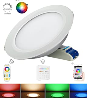 Mi Light 12W Downlight Color Changing Ceiling Light RGB+Dual White Dimmable LED Recessed Downlight 12W Use Remote or iBox Control (12w-CCT-Down)