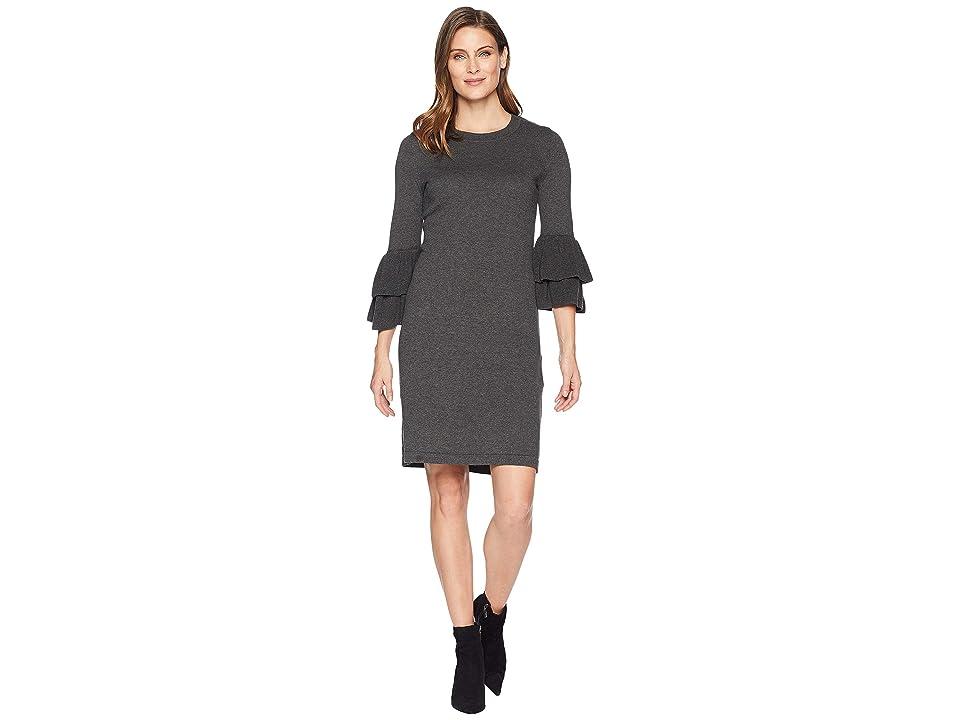 Nine West Ruffle Sleeve Sweater Dress (Charcoal Heather) Women