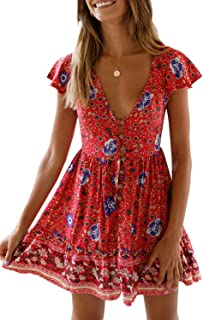 CANIKAT Women's Floral Print V Neck Mini Dress Casual Short Sleeve Boho Swing Dress