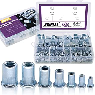 Swpeet 220Pcs 7 Sizes Imperial Zinc Plated Carbon Steel Blue White Knurled Rivet Nut Flat Head Threaded Insert Nutsert Assortment Kit