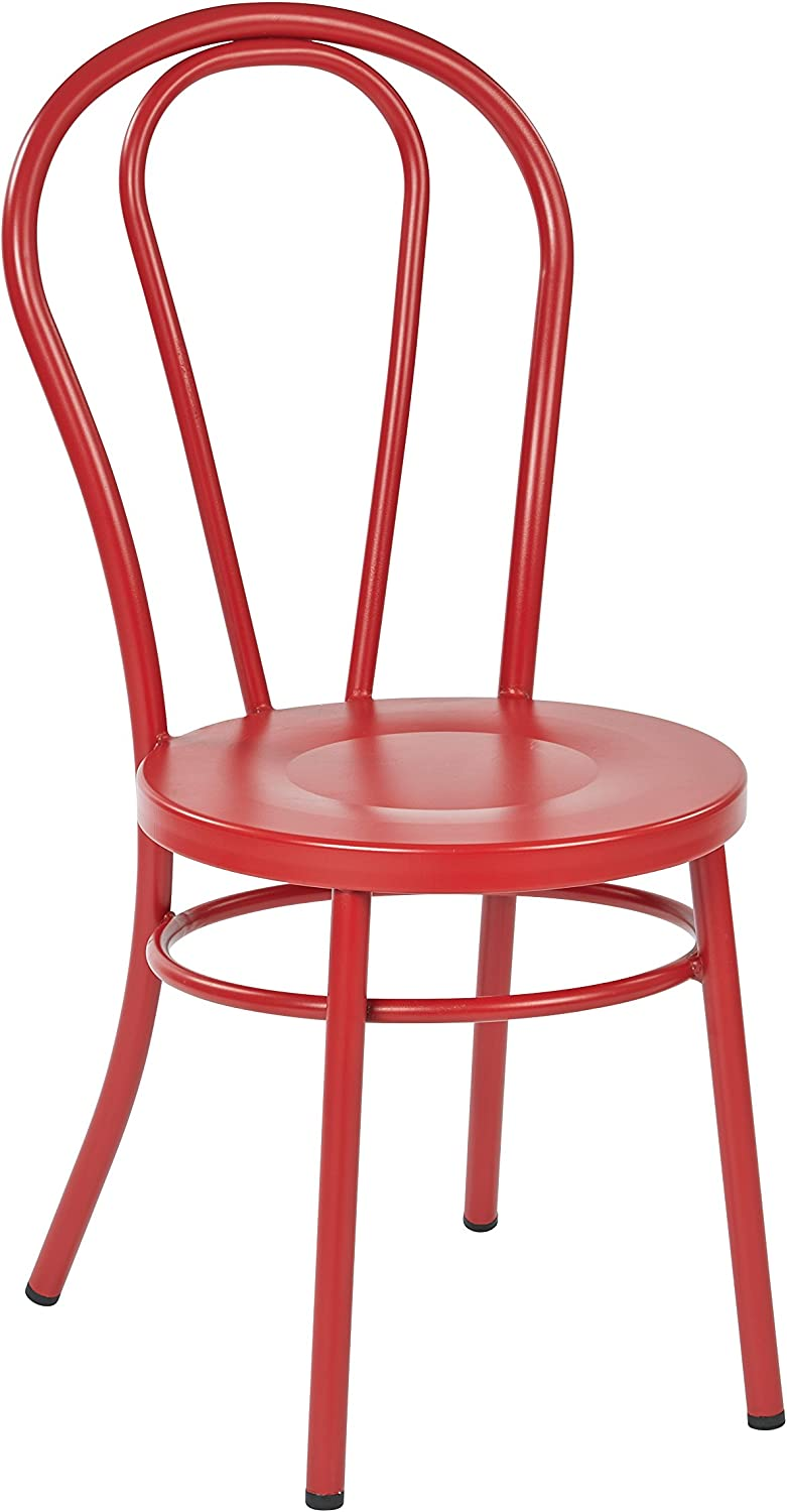 OSP Furniture OD2918A2-9 Odessa Metal Dining Chair with Backrest in Solid Red Finish - Ships Fully Assembled, 2 Pack