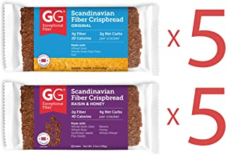 Peaceful Squirrel Variety, GG Scandinavian Crispbread Thins, Pack of 10 ( 2 Flavors: Original and Raisins & Honey)