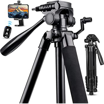 "67"" Camera Tripod Stand, Torjim (13 lbs/6kg Loads) Aluminum Travel Tripod with Carry Bag for Canon, DSRL, SRL, Phone Tripod Mount with Bluetooth Remote Control for Live Streaming, Work, Vlogging"