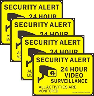 Zaohe 4-Pack Video Surveillance Signs Security Warning Sign 24 Hour Security Alert Signs for House Yard, Garden for Indoor and Outdoor, Waterproof Dust Proof, Yellow Background and Black Words