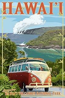 Hawaii Volcanoes National Park, Hawaii - Camper Van (9x12 Art Print, Wall Decor Travel Poster)