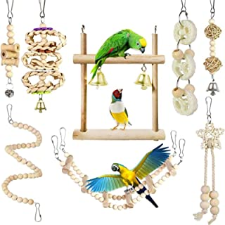 8Pcs/Set Bird Parrot Toys Wooden Hanging Swing Hammock Climbing Ladders Perches Toy Parakeet Cockatiels Bird Cage Supplies