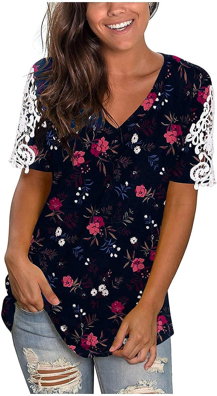 Summer Tops for Women, Women's V Neck Hollow Lace Cuffs Tops Print Short Sleeve Blouse Tops Tee Shirt
