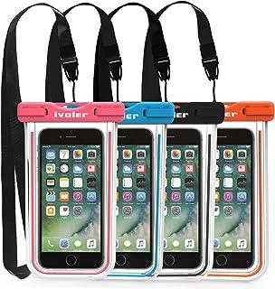 ivoler [IPX8 Certificado] [4 Unidades] Funda Bolsa Móvil Impermeable Universal para Xiaomi, iPhone, Samsung Galaxy, Huawei, Smartphones, Monedas, Pasaporte, etc. (Negro+Azul+Rosa+Naranja)