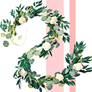 AAA Aces Artificial Eucalyptus Garland Faux Silk Eucalyptus Leaves Vines Greenery Rose Vine Silk Flower Willow Twigs Leaves Wedding Arch Backdrop Wall Party Decor Decoration