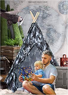 Ukadou Teepee Tent for Kids, Boys or Girls Play Teepee Tent for Toddlers, Camo Printing Indoor Outdoor Use