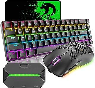 ゲーミングキーボード マウス コンバータ付き Bluetooth 2.4GHワイヤレス Type-c有線接続 メカニカルキーボード 2.4GHワイヤレスマウス マウスパッド PS4/スイッチに対応可能 (ブラック)