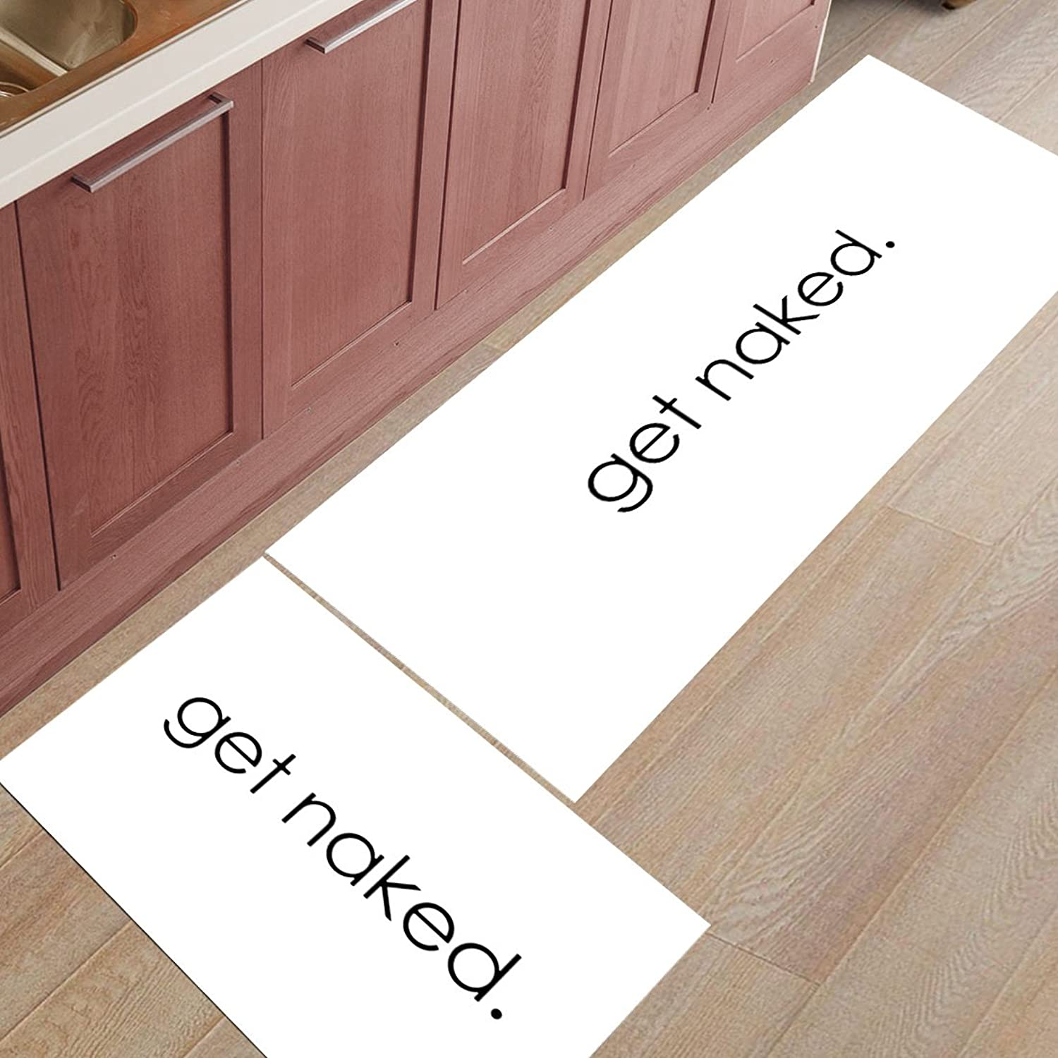 Z&L Home 2 Pieces Kitchen Rugs and Mats Non Slip Rubber Backing Floor Carpet Accent Area Runner Thin Low Pile Indoor Doormat Set-Black and White Funny Get Naked