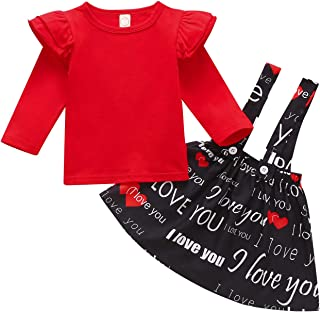 Sponsored Ad - Baby Girls Valentine's Day Outfits Toddler Kids Heart Ruffles Long Sleeve T Shirt + Suspenders Dress Skirt ...