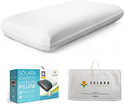SOLARA Memory Foam Pillow for Bed - Orthopedic Pillow with Bamboo Charcoal & Cooling Gel Pad for Comfortable Sleep, 27x15 inches