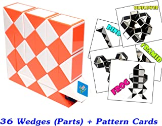 Rubik Snake Twist Puzzle 36 Wedges (Parts) with Pattern Cards Standard Size 1.3 inch for each Part
