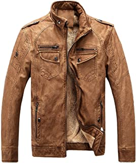 Men's Vintage Stand Collar Pu Leather Jacket Casual Biker Motorcycle Cool Bomber Jacket