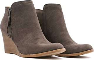 Women's Casual Low Wedge Heel Suede Anker Boots Booties Shoes Brown Size 7