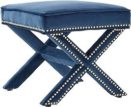 Tov Furniture Reese Velvet Ottoman, Navy
