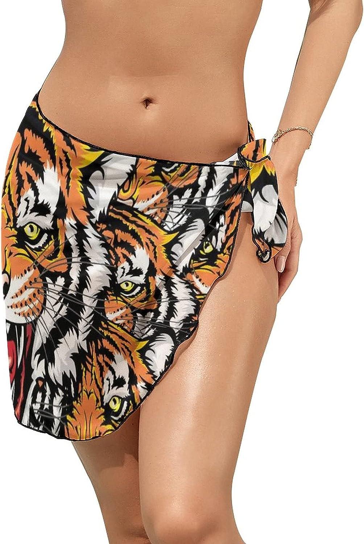 Women Beach Wrap Skirt Chiffon Sarong Pareo Swimsuit Bikini Cover Ups Tiger Growl