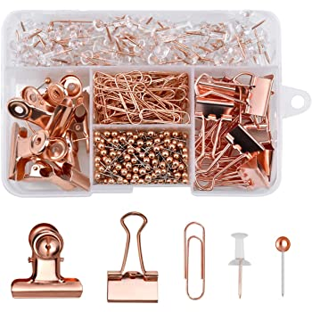 Jinlaili 500PCS Rose Gold Office Stationery Set with 100Pcs Drawing Pins,80Pcs Paper Clips,300Pcs Push Pins,14Pcs Binder Clips,6Pcs Bulldog Clips with Push Pins Clips for Home School Office Supplies