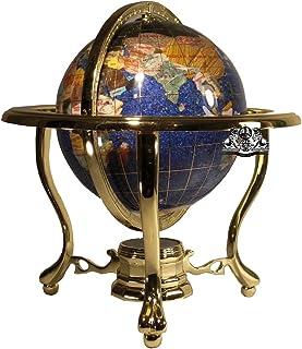 لوحة فنية فريدة بطول 25.4 سم من الكريستال الأزرق المحيط والأحجار الكريمة للعالم الكرة الأرضية مع حامل ثلاثي ذهبي