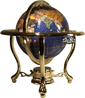 Unique Art 10-Inch Tall Table Top Blue Crystallite Ocean Gemstone World Globe with Gold Tripod Stand