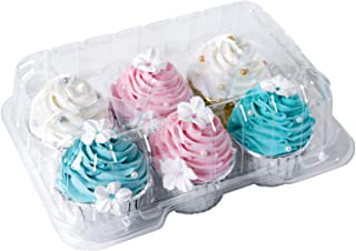 [25pcs]Clear Cupcake Boxes 6 Cavity Holder,ONE MORE Large 6 Compartment Muffin Containers Plastic Cupcake Carrier with Deep Dome 4